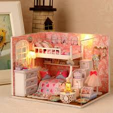 Doll House Bunk Bed Original Genuine 3d Diy Assemble House Sweet Pink Bedroom Bunk Bed