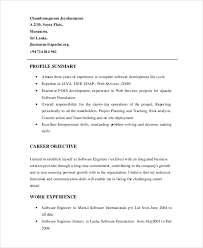 Sample Resume For Software Engineer Experienced by Sample Software Engineer Resume 8 Examples In Word Pdf