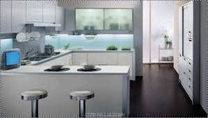 stunning modern kitchen design with floating black glossy cabinets