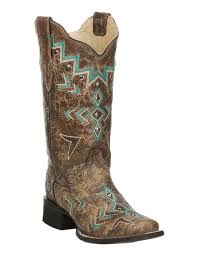 womens size 11 square toe cowboy boots corral s bronze with turquoise aztec embroidery square toe