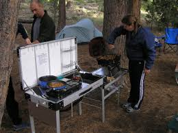 Camping Set Up With The Truck - Camping kitchen with sink