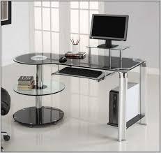L Shaped Glass Desks L Shaped Glass Desk With Chrome Frame In Black Desk Home