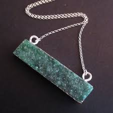 green gem necklace images Druzy gem bar pendant necklace green druzy druzzy agate jpeg