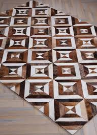 Patchwork Cowhide Zodiac By Mosaic Rugs Luxury Handcrafted Brown U0026 White Patchwork