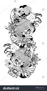 beautiful line art koi carp tattoo stock vector 676683955