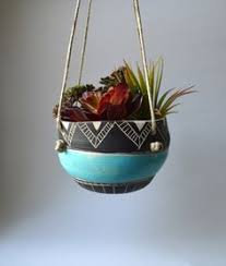 Hanging Ceramic Planter by C L A S S I C T R I B A L Ceramic Hanging Planter Planters By