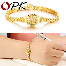 opk new arrival 18k real gold plated charm bracelet special wrist