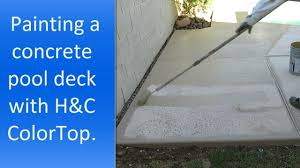 using h u0026c colortop solid color stain to paint a concrete pool deck