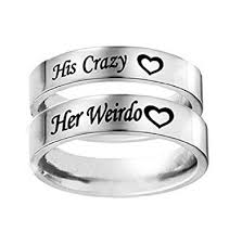 Anniversary Gifts For Men Engagement - com his crazy her weirdo heart engraved ring stainless