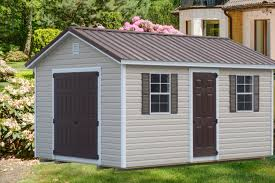 shed style roof ranch style shed with vinyl siding and brown roof vinyl sheds