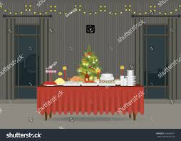 christmas food on table decorating christmas stock vector