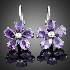 purple earrings earrings purple flower swarovski elements stud earrings