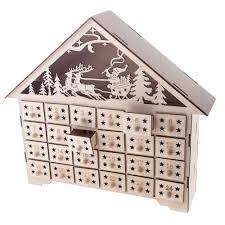 wood advent calendar gisela graham christmas wooden fretwork light up house advent calendar
