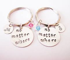 personalized birthstone keychains 2 best friends keychains no matter where key chains personalized