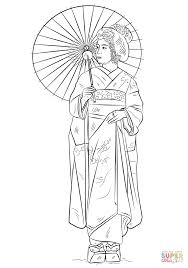 japanese in traditional dress coloring page free printable