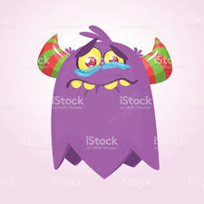 cute cartoon monster with horns crying monster emotion halloween