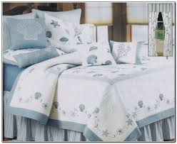 bedroom ideas beach theme bedding with shell patterned cotton bed