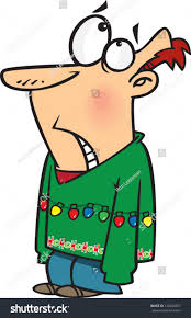 embarrassed cartoon man wearing ugly christmas stock vector
