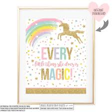 unicorn wall quote unicorn party sign every little thing she