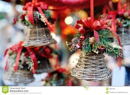 christmas tree decoration bell with red ribbon stock image image