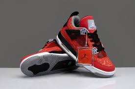limited womens air jordan 4 chicago bulls red black shoes