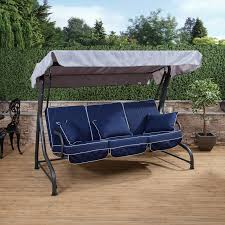 roma 3 seater swing seat charcoal frame with luxury cushions for