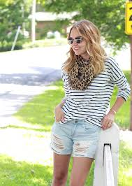 striped tee and leopard print scarf the steele maiden