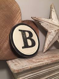 8 round letter b sign monogram initial wall art home decor 8