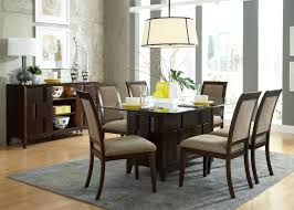 Glass Top Pedestal Dining Room Tables Elegant Brown And Black Polished Mahogany Wood Dining Table Chairs