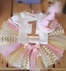 1st birthday tutu pink and gold fabric birthday tutu set babygirl s