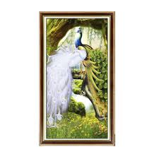 merak hijau pola burung merak hijau putih penuh berlian lukisan gaya cina seri