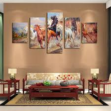 decorative artwork for homes unframed 5 panels canvas print painting modern running horse canvas