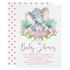 baby shower for a girl pink elephant baby shower invitations announcements zazzle