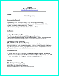 Resume For Summer Internship Successful Objectives In Chemical Engineering Resume