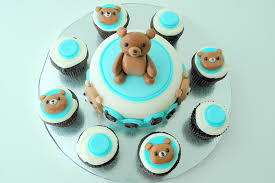 teddy bear baby shower mini cake and mini cupcakes flickr