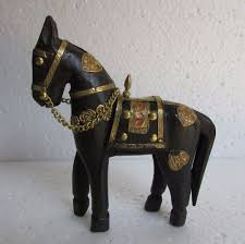 horse statue home decor wooden handcrafted brass fitted wooden horse statue home decor