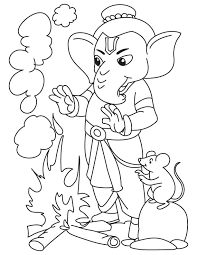 lord ganesha with fire coloring page download free lord ganesha