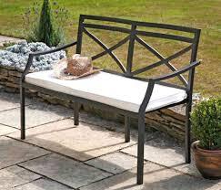 rustic brown 4 u0027 2 seater metal garden bench with cream cushion