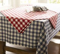 pottery barn table linens love this idea red and blue gingham check tablecloth pottery