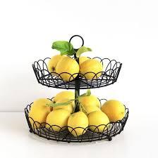 metal fruit basket dessert storage 2 tier stand display fruit basket countertop