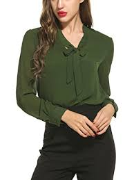 bow tie blouse acevog womens bow tie neck sleeve casual work chiffon blouse