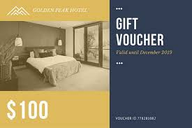 hotel gift certificates gold blue hotel room photo gift certificate templates by canva