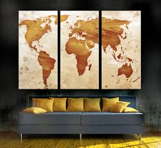 light orange world map canvas print 3 panel split triptych