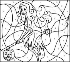 halloween pumpkin printable color number hard