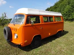 orange volkswagen van 1975 vw camper van in orange lhd pop up roof dash auto imports