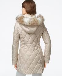 laundry by design hooded jacket laundry by design faux fur trim quilted puffer coat coats women