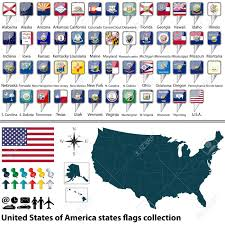 Kentucky Flags Map Of United States Of America With All States Flags Collection