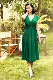 vintage dress 70 s slinky topvintage exclusive 50s layla cross dress in green