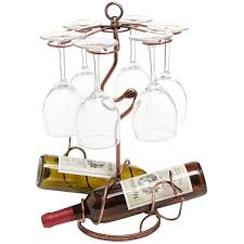 freestanding metallic bronze scrollwork wine rack 2 bottle 6 glass