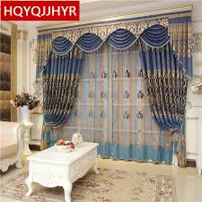 royal blue bedroom curtains blue luxury water soluble embroidery european shade curtains for